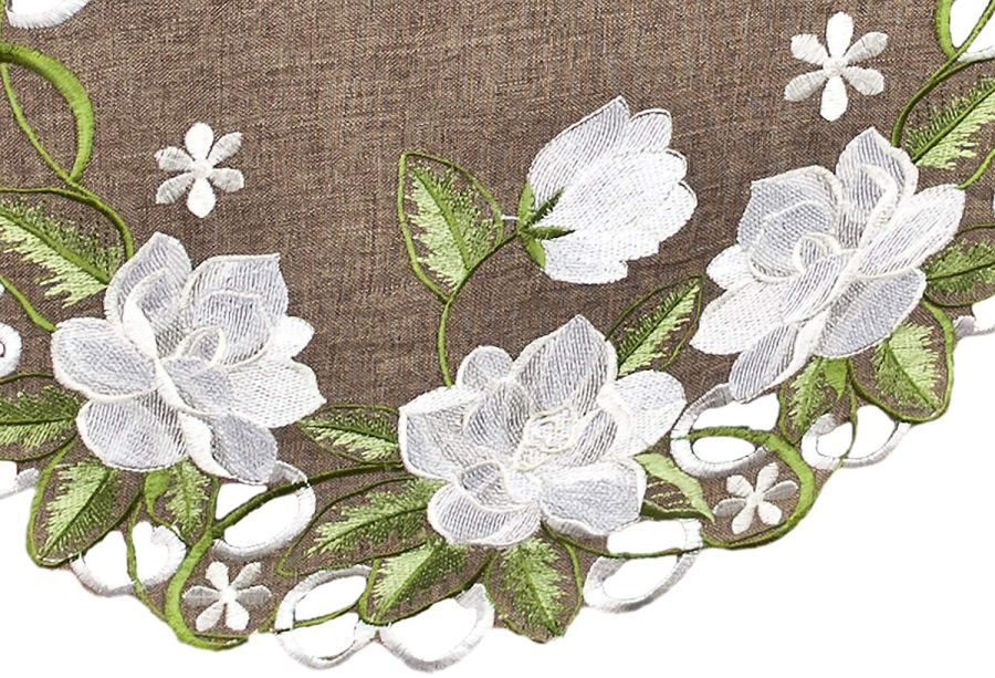 embroidered white magnolia linen table runner