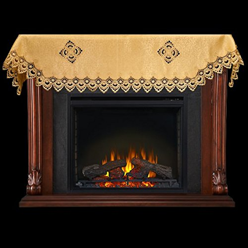 fireplace mantel scarf with gold peacock lace