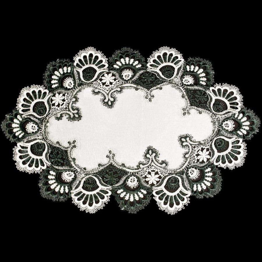 hunter green peacock tail lace doilies placemat