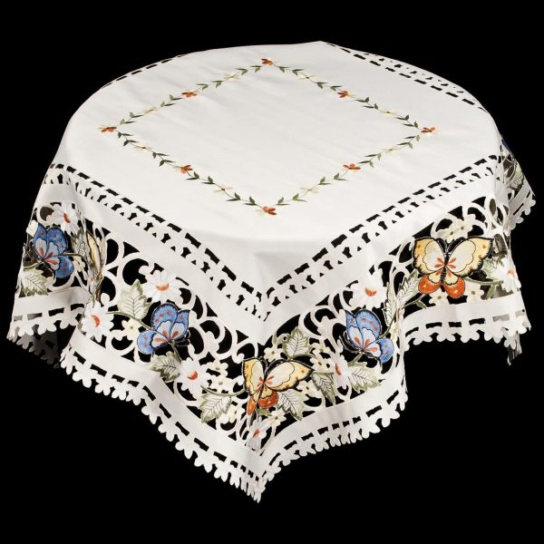 embroidered butterfly table topper – 34×34