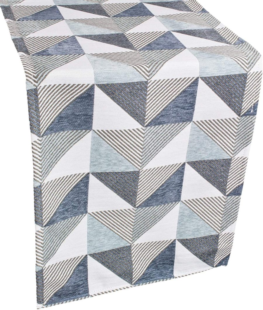 table runner with triangle patterns in blue and gray – 17 x 90 rectangular