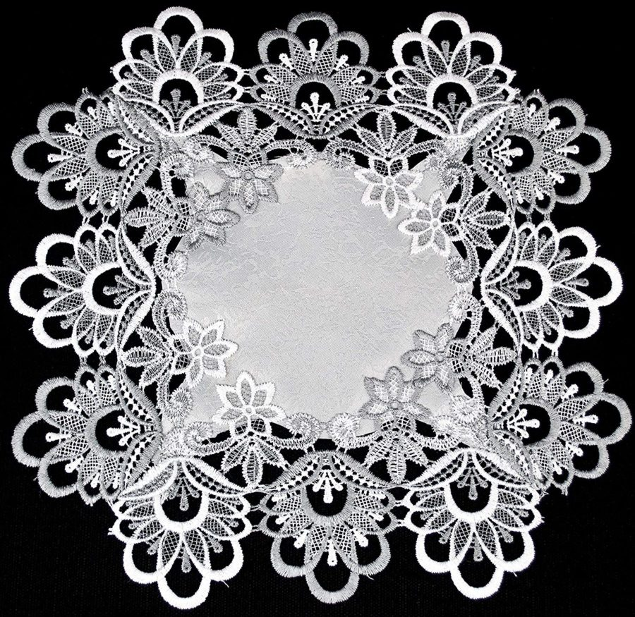 silver peacock tail lace 14″ square doily