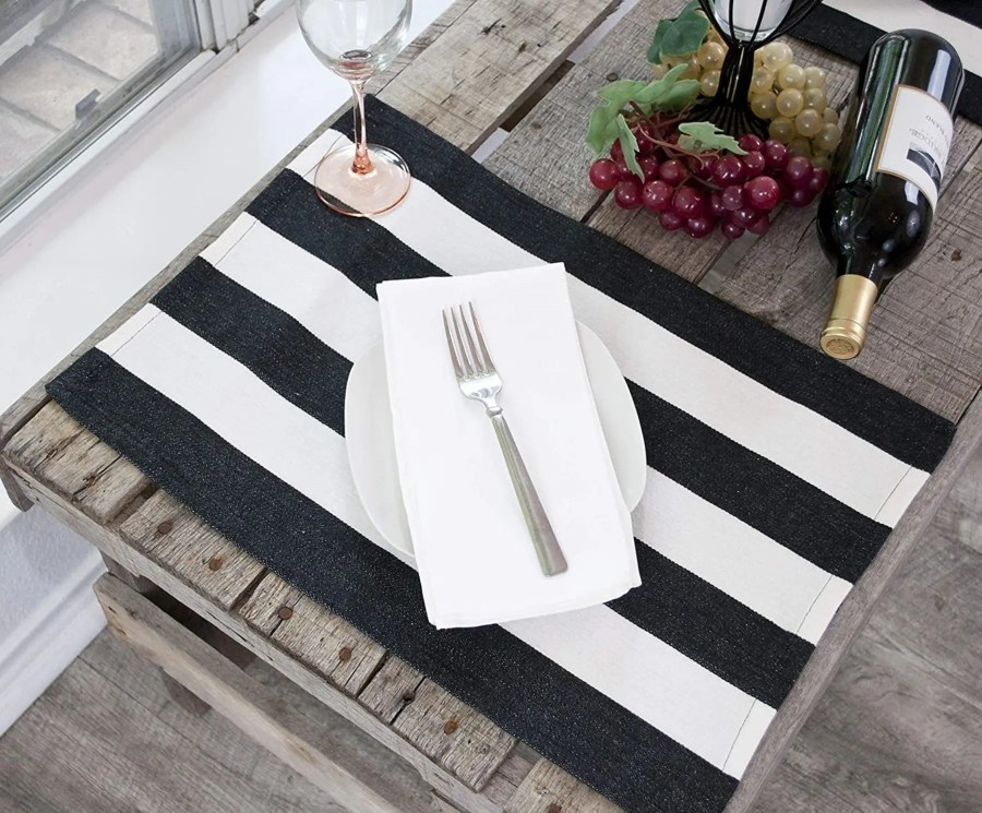 farmhouse black & white stripe placemat