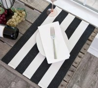 farmhouse black & white stripe placemat
