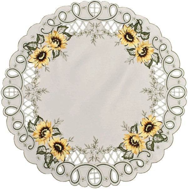 embroidered sunflower round doily-23″