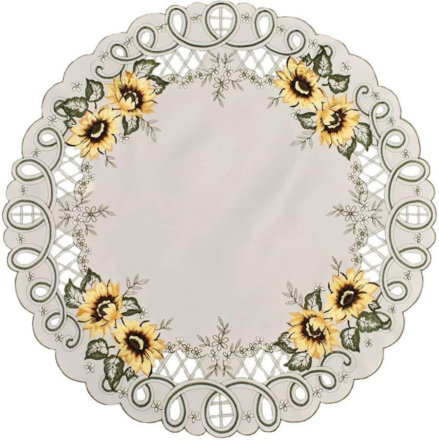 embroidered sunflower round doily-23″