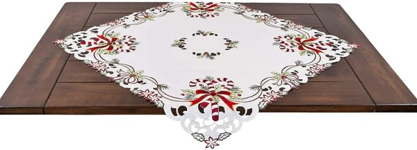 embroidered candy cane and ribbons table topper