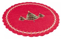embroidered green christmas tree on red holiday linen doily