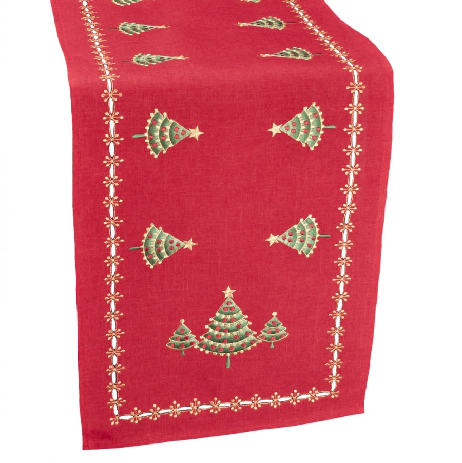 embroidered green christmas tree on red linen table runners
