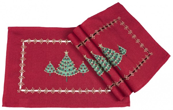 embroidered green christmas tree on red linen placemats (set of 4)