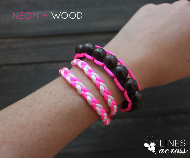 Neon and Wood Floating Bead Bracelet