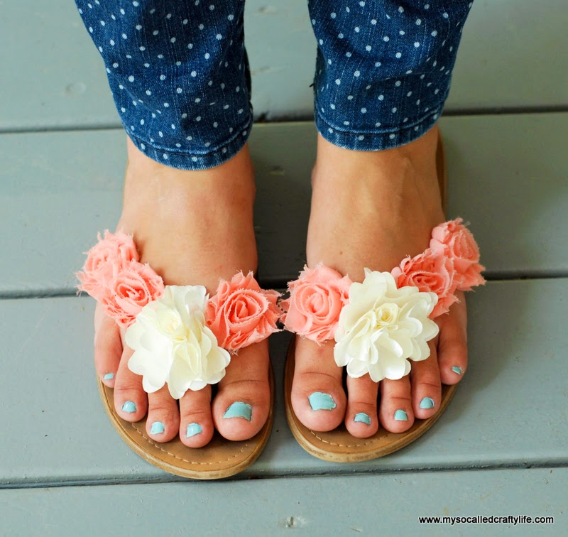 5e1a4968f Add neon gems to plain white sandals via I SPY DIY. 36. Add fabric flowers  to sandals for a cute summery style via My So Called Crafty Life.