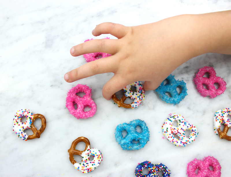 Colorful Pretzels made with candy melts
