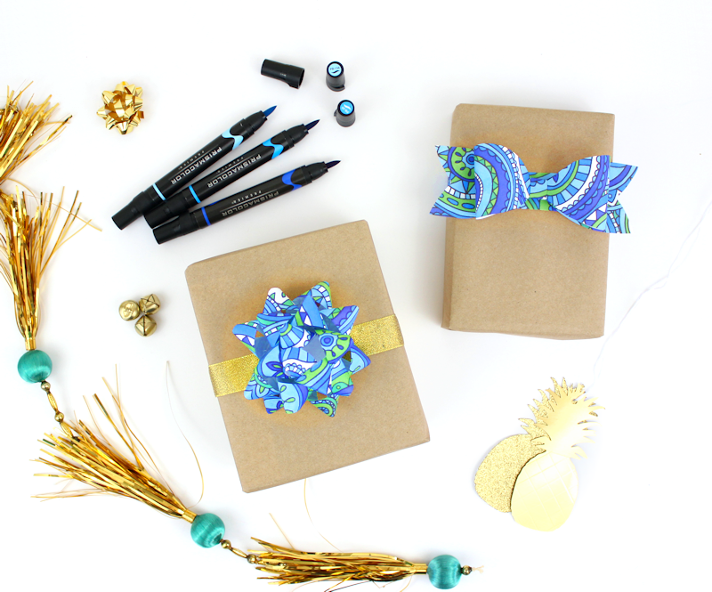 adult coloring page gift bow tutorial 2