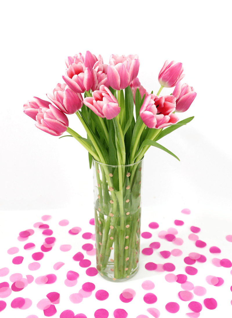 DIY Gold Polka Dot Vase - a perfect Mother's day gift idea
