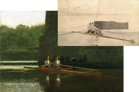 Thomas Eakins perspective drawing and finished painting.