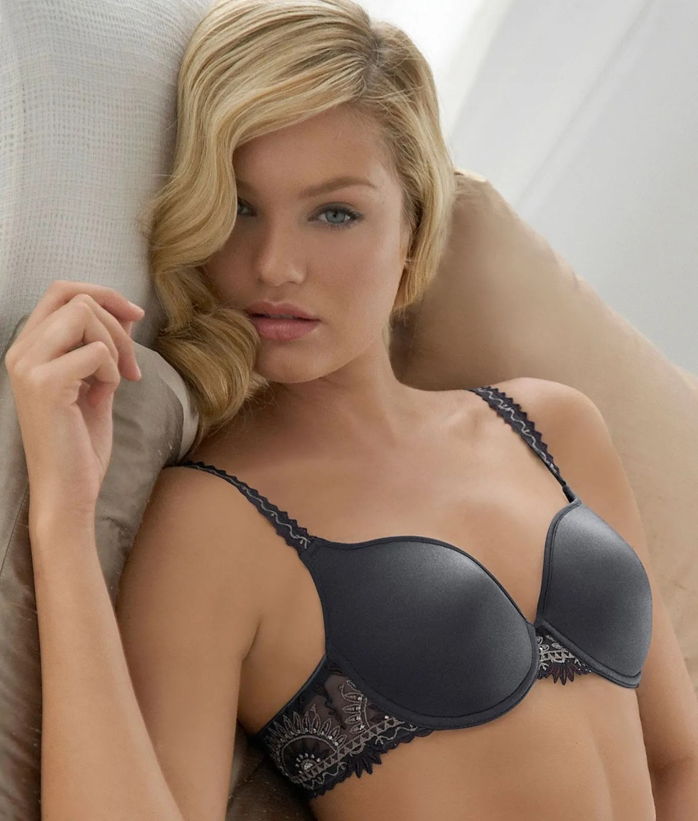 Black Bra Grey Lace Pattern