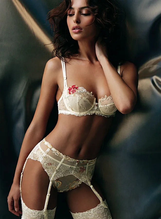White Red Flower Bra G String