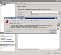 Restore Database Error Message