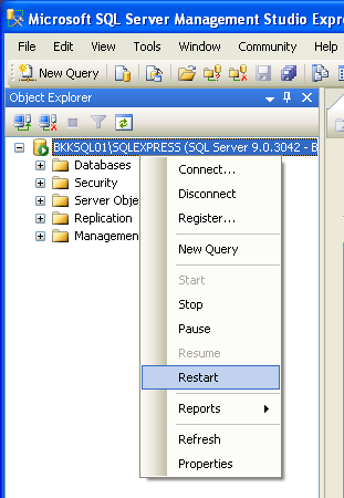 Restart SQL Server Service