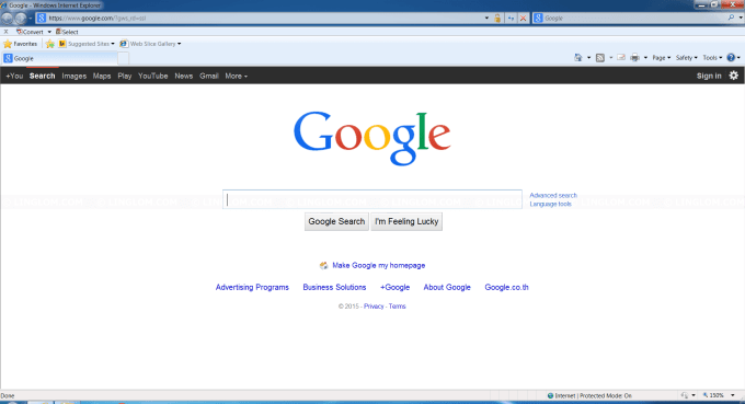 Google on Internet Explorer