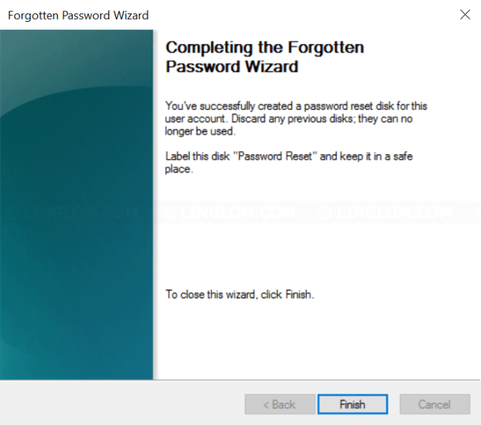 Completing the Forgotten Password Wizard