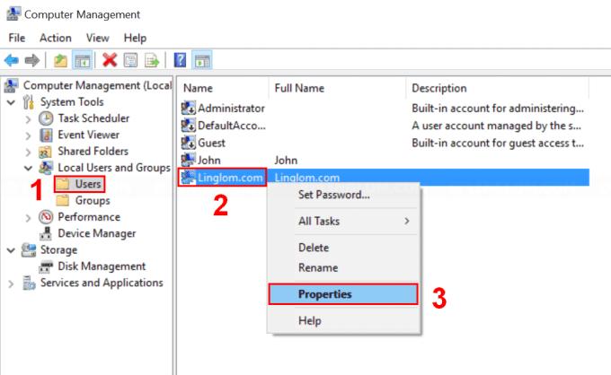 Open User Account properties