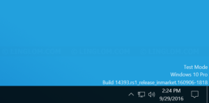 Test mode message on Windows 10
