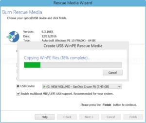 Create USB WinPE rescue media