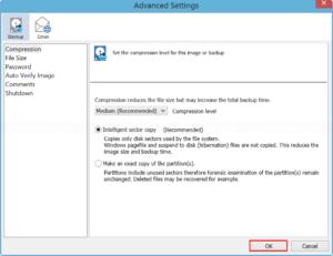 Configure Backup Advanced Settings