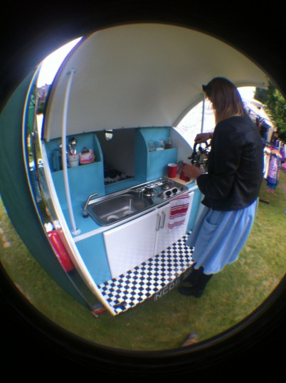 Making tea from the back of the Retro Caravan