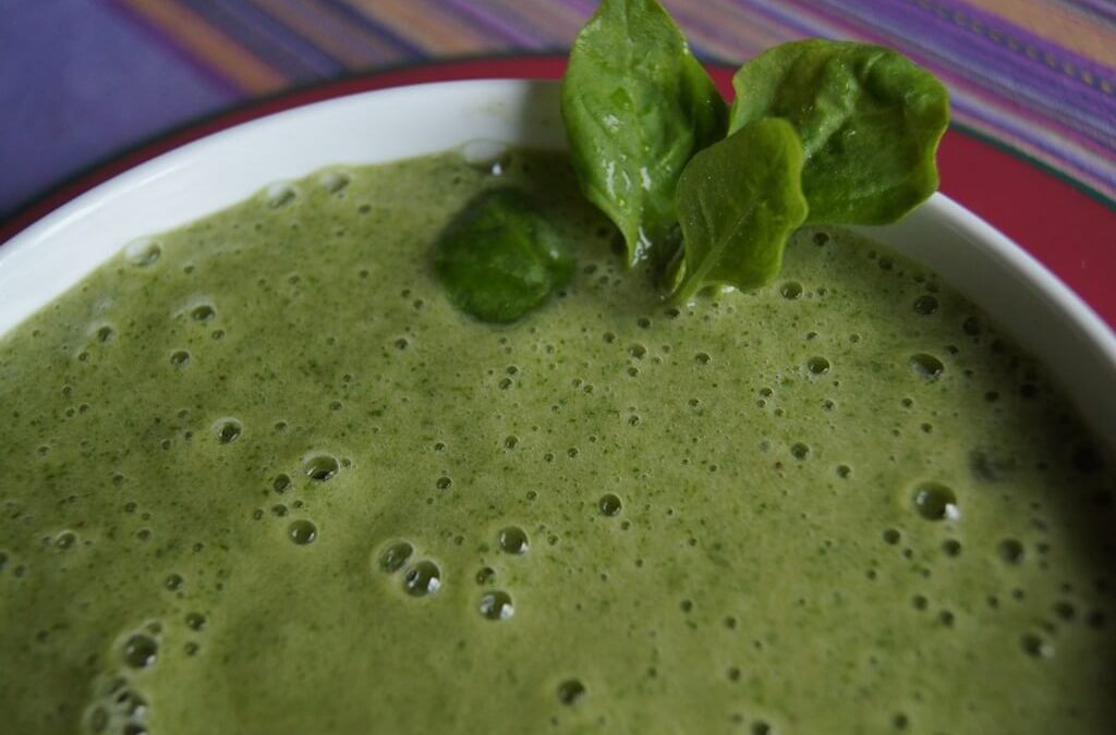 Green Smoothie with Ripe Banana and Spinach