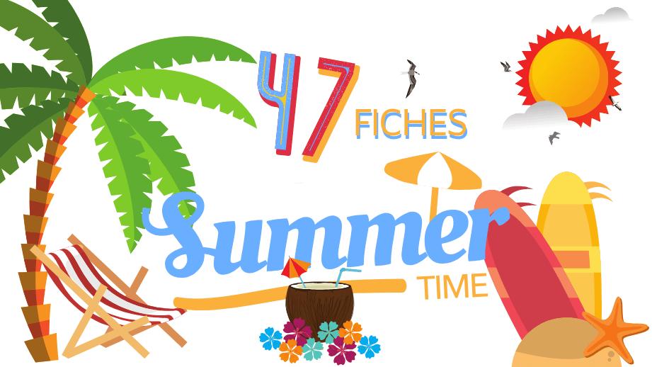 🌞 Les 47 fiches de vocabulaire de base anglais sur l'été 🌴