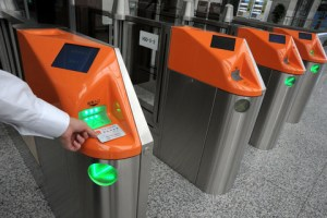 Entering the CRH gate by scanning ID card