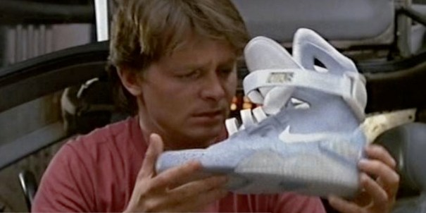 "Marty McFly holding his Nike Air Mags in ""Back to The Future II"""