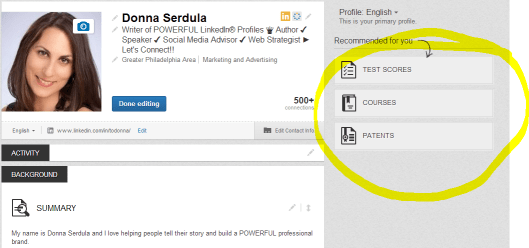 Additional Profile Sections on the new LinkedIn profile