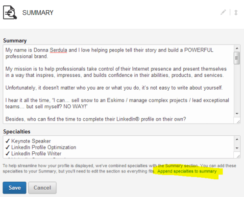 Remove your LinkedIn Specialties