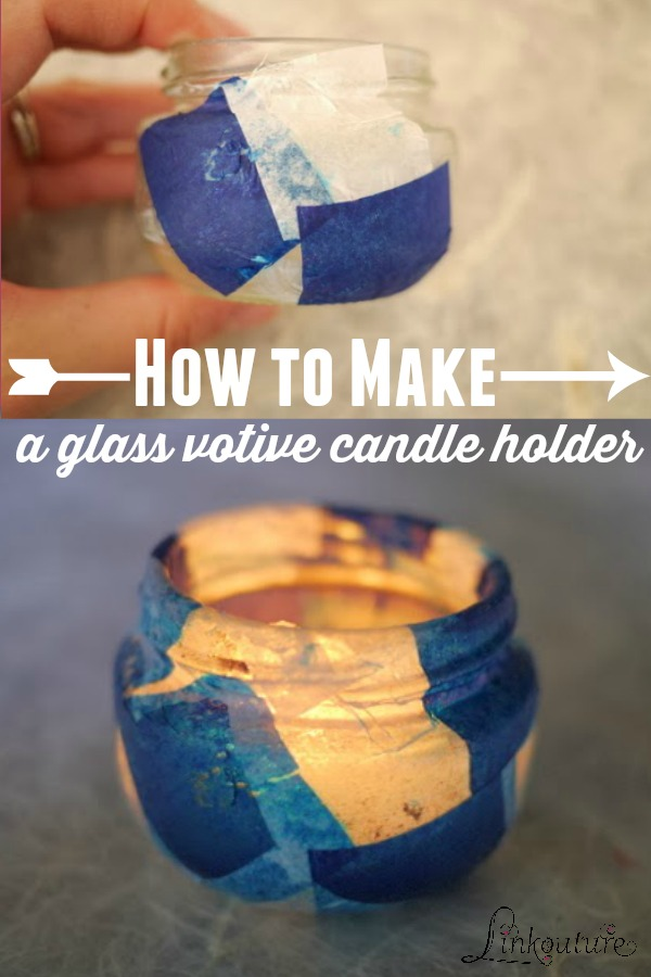 These upcycled glass votive candle holders are incredibly easy to make and are a fun craft for kids. What's especially great is they use materials you probably already have at home! They make a beautiful gift idea for teachers and holidays.