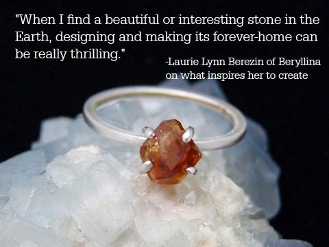 """""""Belvidere"""" ring: natural hessonite garnet crystal mined in Vermont, recycled Argentium sterling silver by Beryllina"""