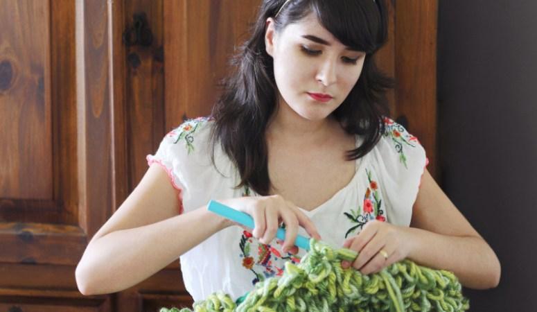 Katty Huertas of Katty's Handcrafts crocheting her chunky vegan acrylic knitwear