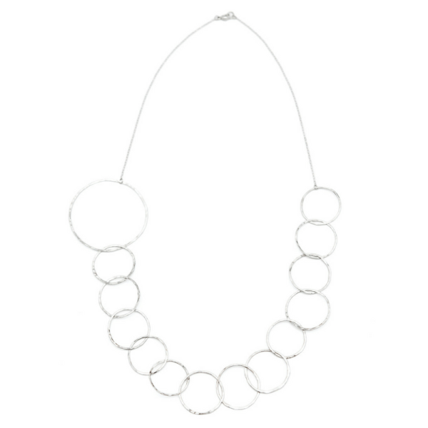 LONG ASYMMETRICAL STERLING SILVER STATEMENT CHAIN NECKLACE