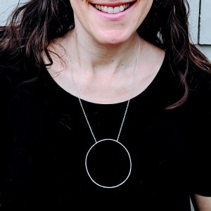 Large hammered circle pendant necklace