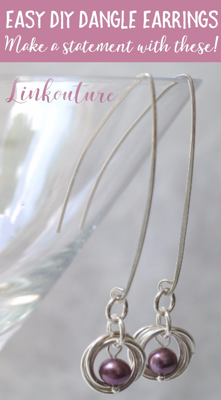 Make a statement with these bold yet classy DIY dangle earrings you can make at home featuring freshwater pearls for a feminine touch.