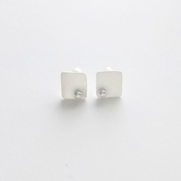 Rounded rectangular minimalist post earrings