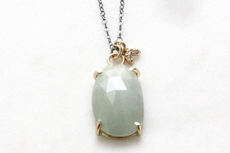 14k moss aquamarine & moissanite eco-friendly leaf necklace