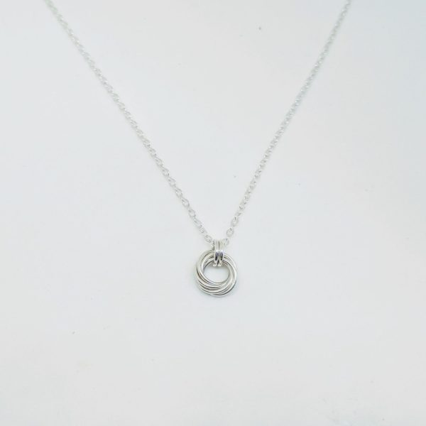 Sterling silver round mobius spiral pendant necklace by Linkouture