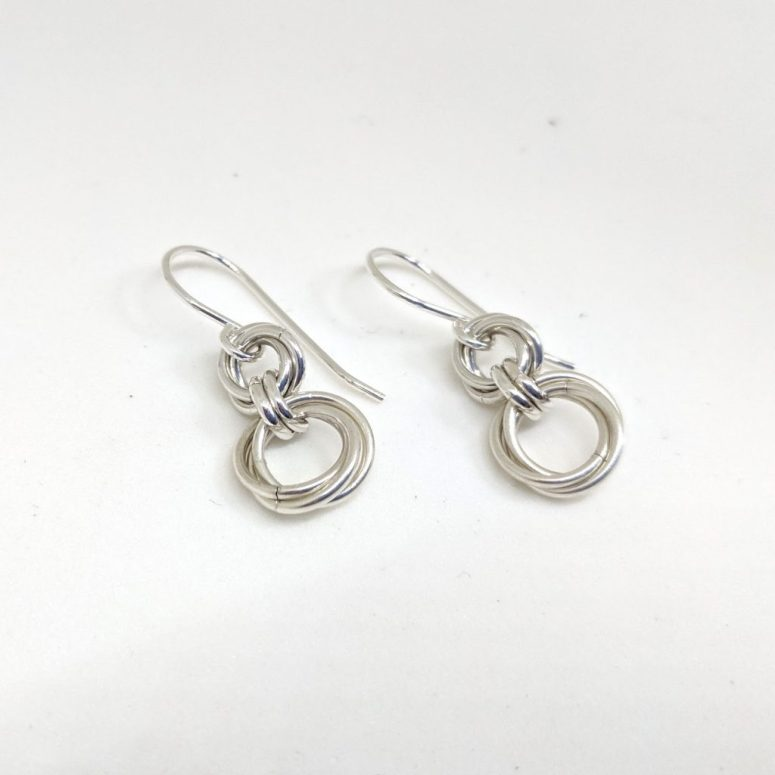 sterling silver mobius chainmaille spiral earrings