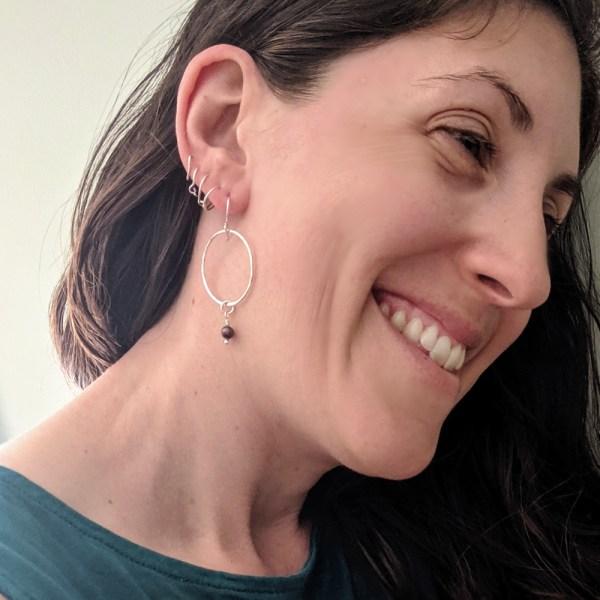 hoop pearl earrings