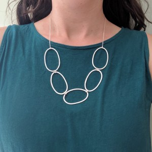 silver oval hoop necklace